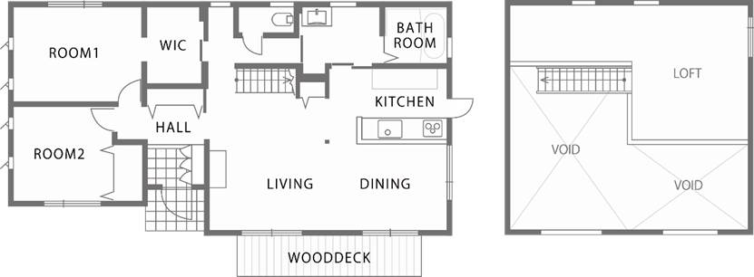 屋根裏部屋と吹抜けで構成される広がりの演出された平屋-間取り-|郡山市 注文住宅 大原工務店の施工例
