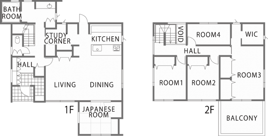 重厚感を持ちながらも、白を基調としたシンプルモダンな寄棟屋根の新築住宅~間取り~