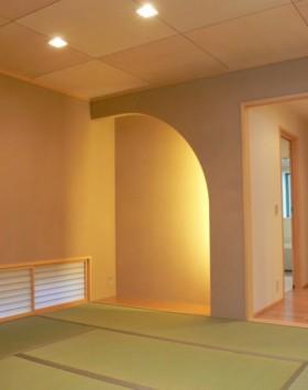 吹き抜けのあるリビング ナチュラルモダンな家-和室-|郡山市 注文住宅 大原工務店の施工例