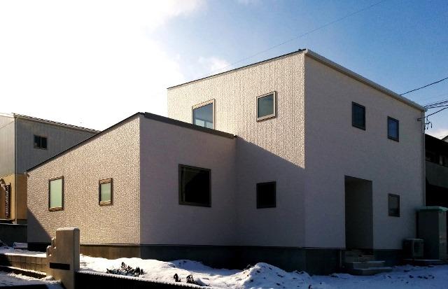 シンプルを追求した箱型住宅~外観~|郡山市 注文住宅 大原工務店 施工例