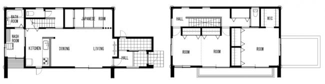 田村市常葉町「造作家具で機能性とカッコ良さを兼ねそなえた カリフォルニアスタイルの家」間取り