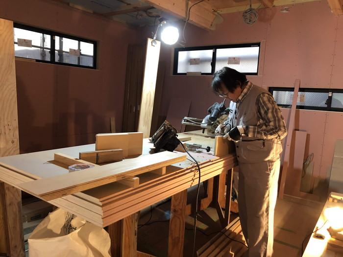 玄関幅木の加工です。|郡山市 新築住宅 大原工務店のブログ