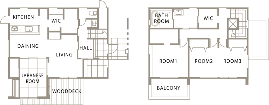 片流れ屋根が特徴的なモダンデザインの注文住宅-間取り-|郡山市 注文住宅 大原工務店の施工例