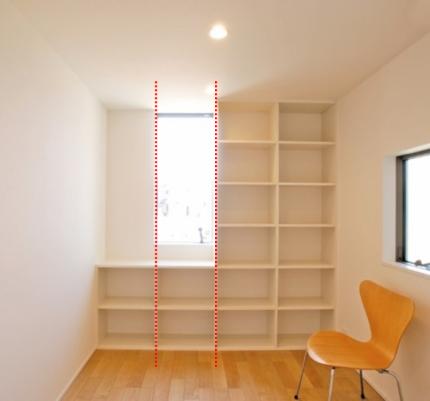本棚と窓の幅がそろっているとスッキリした印象になります。  郡山市 新築住宅 大原工務店のブログ