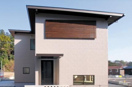深い軒先を持つ片流屋根の家~ 外観~|郡山市 注文住宅 大原工務店の施工例
