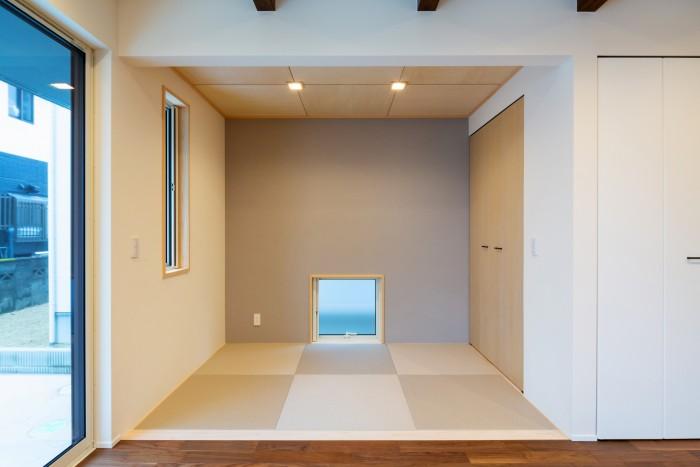 グレーのクロスが印象的なタタミコーナーです!| 郡山市 新築住宅 大原工務店のブログ