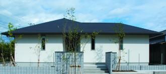 バリアフリーで家族に優しい平屋の注文住宅-外観-|郡山市 注文住宅 大原工務店の施工例