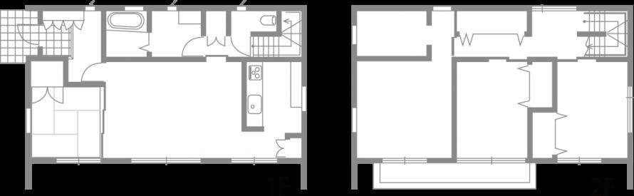真っ白な外壁の四角い家 シンプルデザインハウス-間取り-|郡山市 注文住宅 大原工務店の施工例