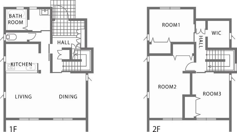 木目調と石張り調で際立つダークブラウンのシンプルデザイン住宅-間取り-|郡山市 注文住宅 大原工務店の施工例