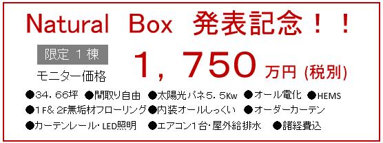 ナチュラルボックス発表記念価格