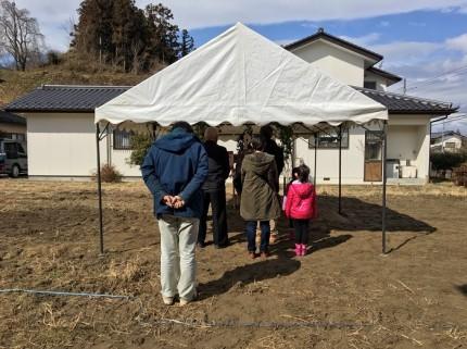 地鎮祭の様子です。田村郡三春町|郡山市 新築住宅 大原工務店のブログ