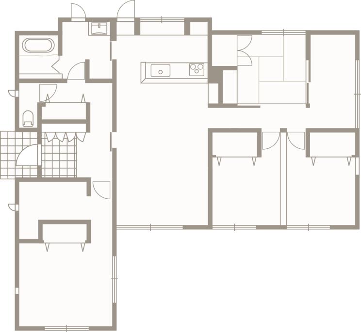 平屋造りの長所を生かし新しい形を提案する-間取り-|郡山市 注文住宅 大原工務店の施工例