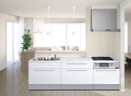 自然素材を使ったモデルハウスの対面型キッチンイメージ