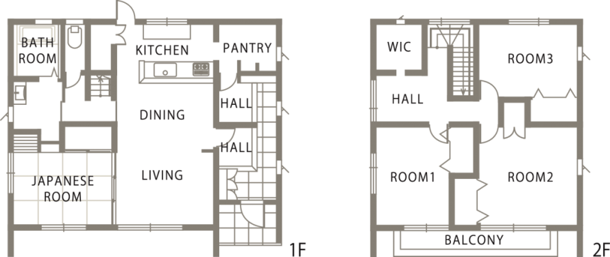 ダークブラウンが落ち着いた印象を与えるスタイリッシュな家-間取り-|郡山市 注文住宅 大原工務店の施工例