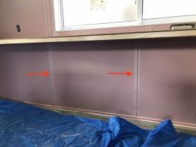 石膏ボードの繋ぎ目にファイバーテープを貼っていきます。郡山市昭和| 郡山市 新築住宅 大原工務店のブログ