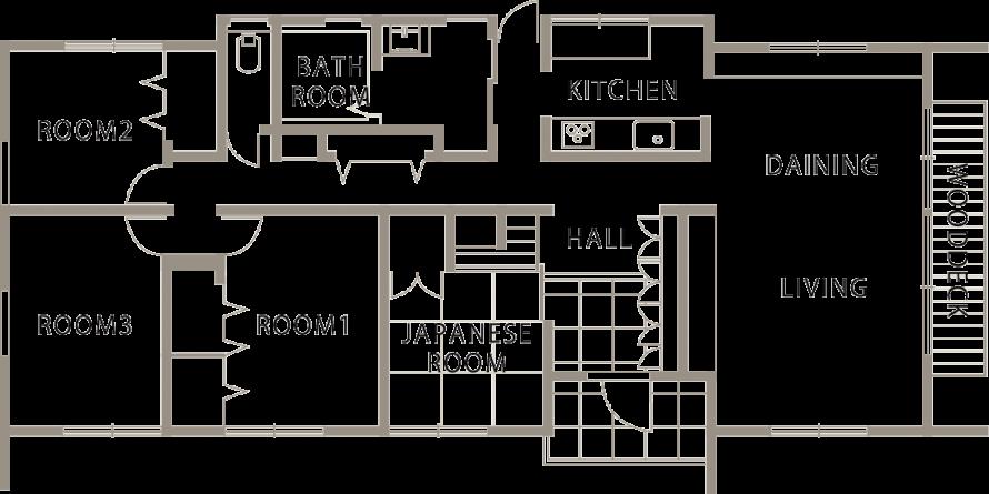 シンプルモダン 黒が美しい上質ワンフロアの平屋-間取り-|郡山市 注文住宅 大原工務店の施工例