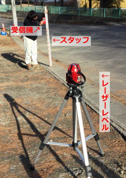 レーザーレベルという機械を使って高さを測ります。郡山市安積町| 郡山市 新築住宅 大原工務店のブログ