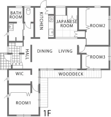 生活動線に配慮した回遊性のある平屋建寄棟の家-間取り-|郡山市 注文住宅 大原工務店 施工例