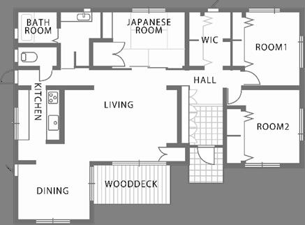深い軒先を持つ寄棟屋根の平屋住宅-間取り-|郡山市 注文住宅 大原工務店の施工例