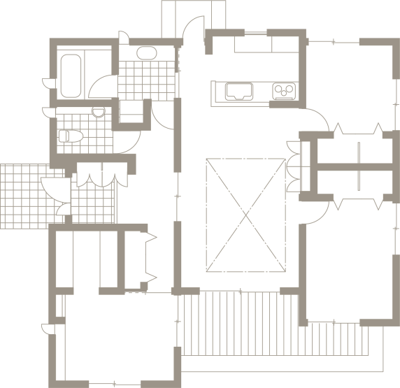 日本の伝統的な家「平屋」で暮らす贅沢な時間-間取り-|郡山市 注文住宅 大原工務店の施工例