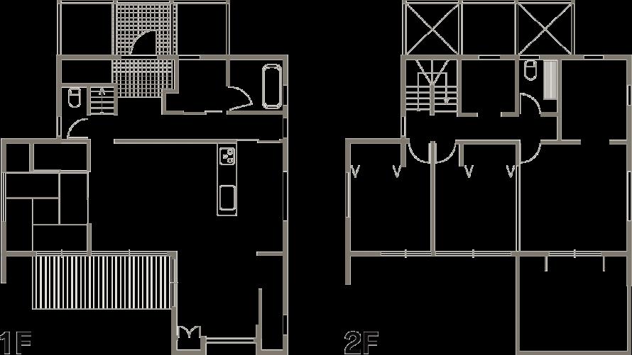 広々ウッドデッキと使い勝手の良いバルコニーを満喫-間取り-|郡山市 注文住宅 大原工務店の施工例