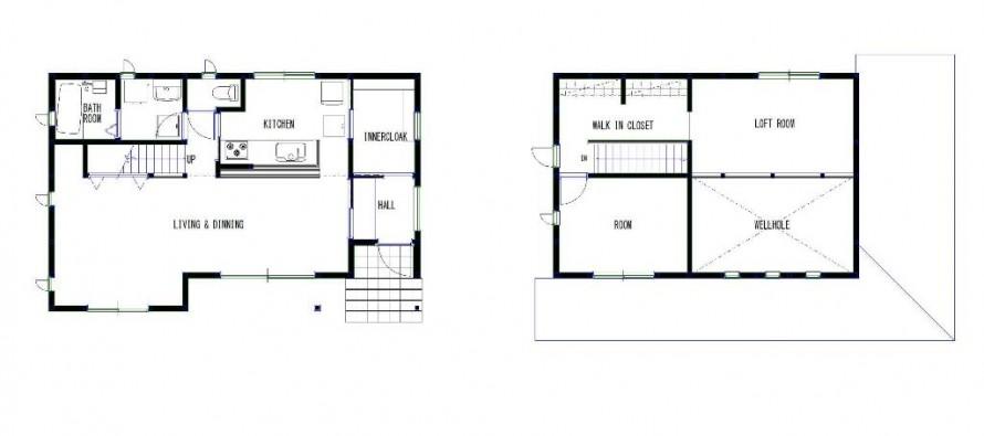 深い軒と片流れで構成される和モダンの家-間取り-|郡山市 注文住宅 大原工務店の施工例