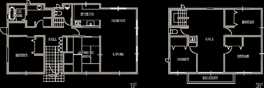 たっぷりの光を取り込む二世帯住宅-間取り図-|郡山市 注文住宅 大原工務店の施工例