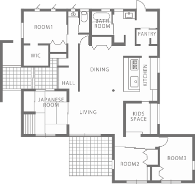 小屋裏空間とスキップフロアで構成される平屋-間取り-|郡山市 注文住宅 大原工務店の施工例