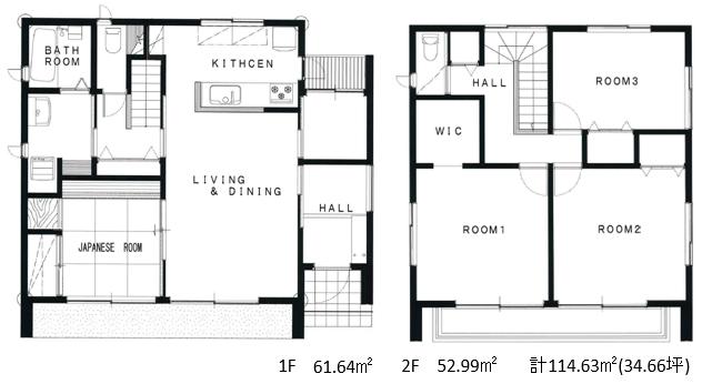 ~子育て世代が暮らす34坪のシンプルな家~プラン1F2F