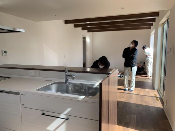 キッチン側から見たリビングダイニングです!|郡山市 新築住宅 大原工務店のブログ