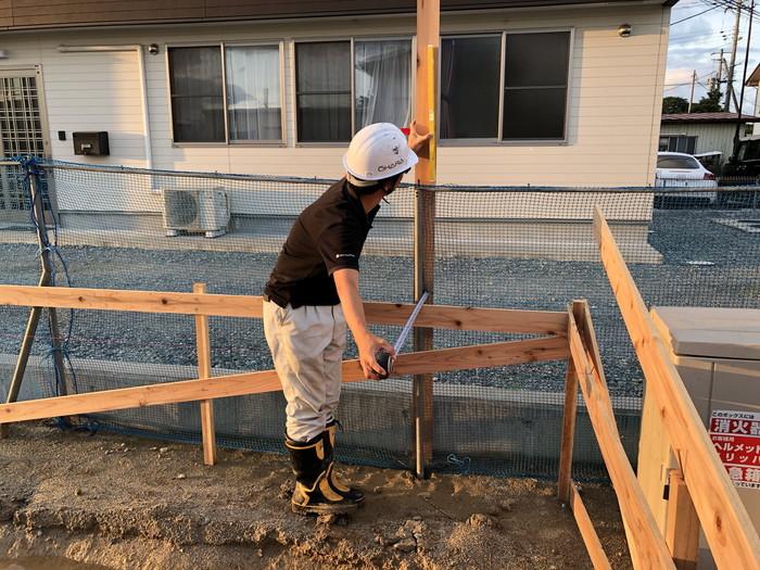 境界からの離れの測定です。|郡山市 新築住宅 大原工務店のブログ