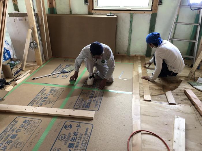 床板の養生です。|郡山市 新築住宅 大原工務店のブログ