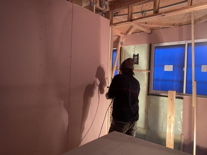 石膏ボードの施工です。郡山市安積町  郡山市 新築住宅 大原工務店のブログ