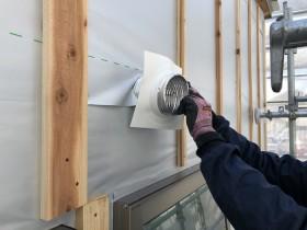 外壁のダクトの処理です。|郡山市 新築住宅 大原工務店のブログ