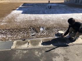 桝の距離も測ります。| 郡山市 新築住宅 大原工務店のブログ
