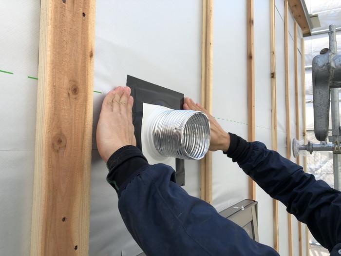 ダクトの防水処理です。|郡山市 新築住宅 大原工務店のブログ