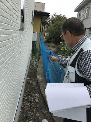 隣地との離れを確認していきます。|郡山市 新築住宅 大原工務店のブログ