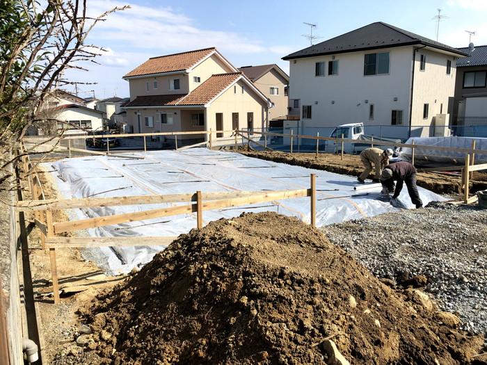 防湿シートの施工です。 郡山市 新築住宅 大原工務店のブログ