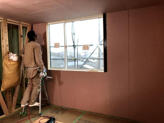 石膏ボードの施工です。|郡山市 新築住宅 大原工務店のブログ