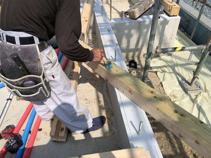 土台の防蟻処理です。 郡山市 新築住宅 大原工務店のブログ