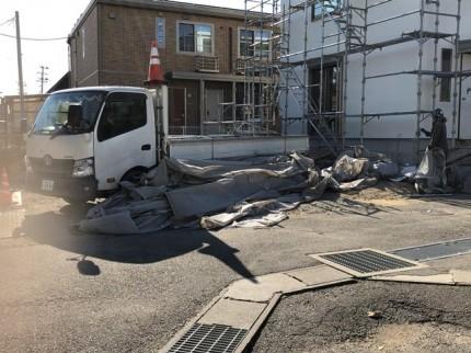 新築工事のメッシュシート撤去です。|郡山市 新築住宅 大原工務店のブログ