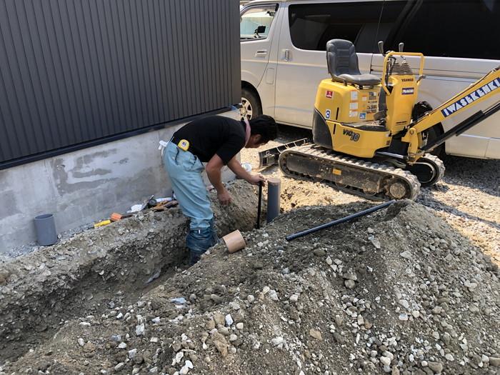 屋外の排水工事です。|郡山市 新築住宅 大原工務店のブログ