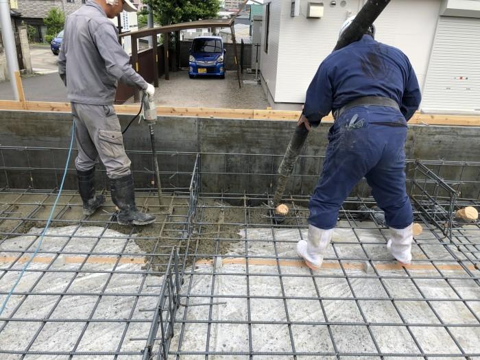 コンクリートを打設しています。郡山市菜根| 郡山市 新築住宅 大原工務店のブログ