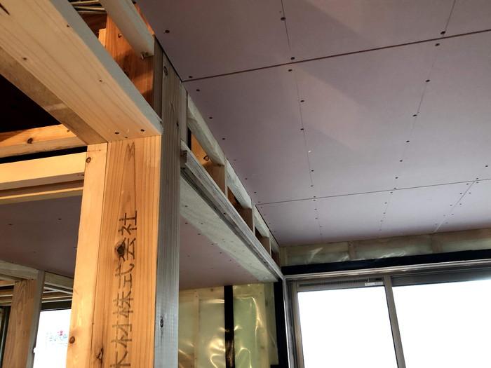 天井の石膏ボード張りです。|郡山市 新築住宅 大原工務店のブログ