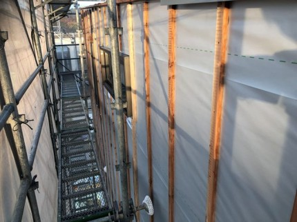 外壁の下地完了です。|郡山市 新築住宅 大原工務店のブログ
