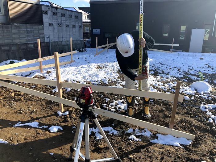 貫の高さを確認します。郡山市富田町| 郡山市 新築住宅 大原工務店のブログ