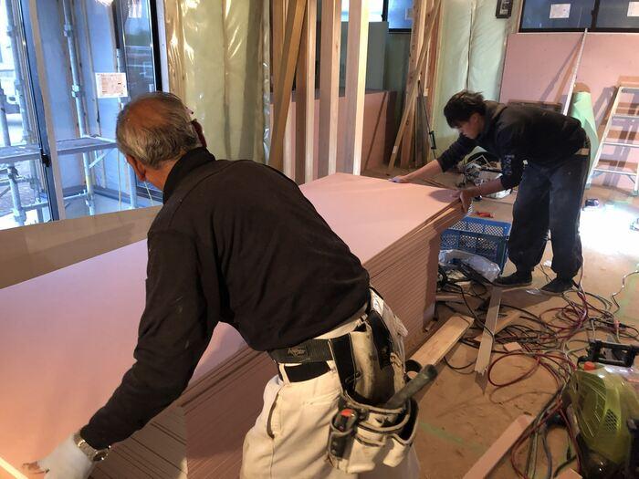 大原工務店で工事中の新築モデルハウスの石膏ボード施工していきます。郡山市安積町| 郡山市 新築住宅 大原工務店のブログ