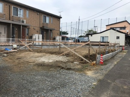 郡山市開成の新築住宅、丁張です。