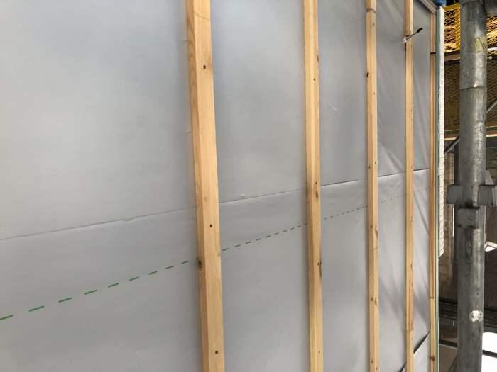 大原工務店で新築注文住宅建築中H様邸、外壁下地を施工していきます。郡山市安積町  郡山市 新築住宅 大原工務店のブログ