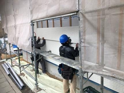 外壁材の施工が進んでいます。|郡山市 新築住宅 大原工務店のブログ